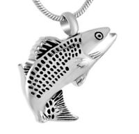 Fancy Fish Cremation Jewelry Keepsake Pendant Urn With 20 Necklace & Funnel
