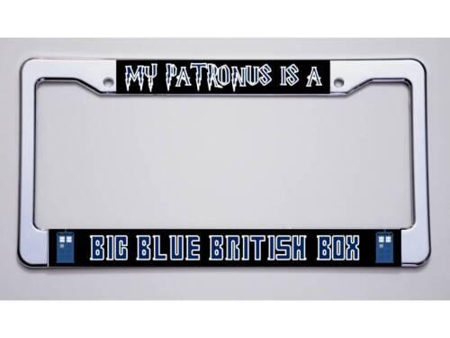 "HARRY POTTER DOCTOR WHO FANS /""MY PATRONUS...//BIG BLUE...BOX/"" LICENSE PLATE FRAME"