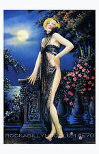 Pin Up Girl Poster 11x17 exotic flapper maiden dame art deco blonde black lace