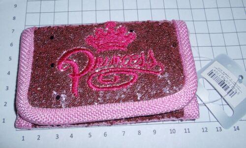 PINK Ladies Ragazze Glitter Mini Custodia TRIPLA Portafoglio Con Ricamo Principessa * Nuovo