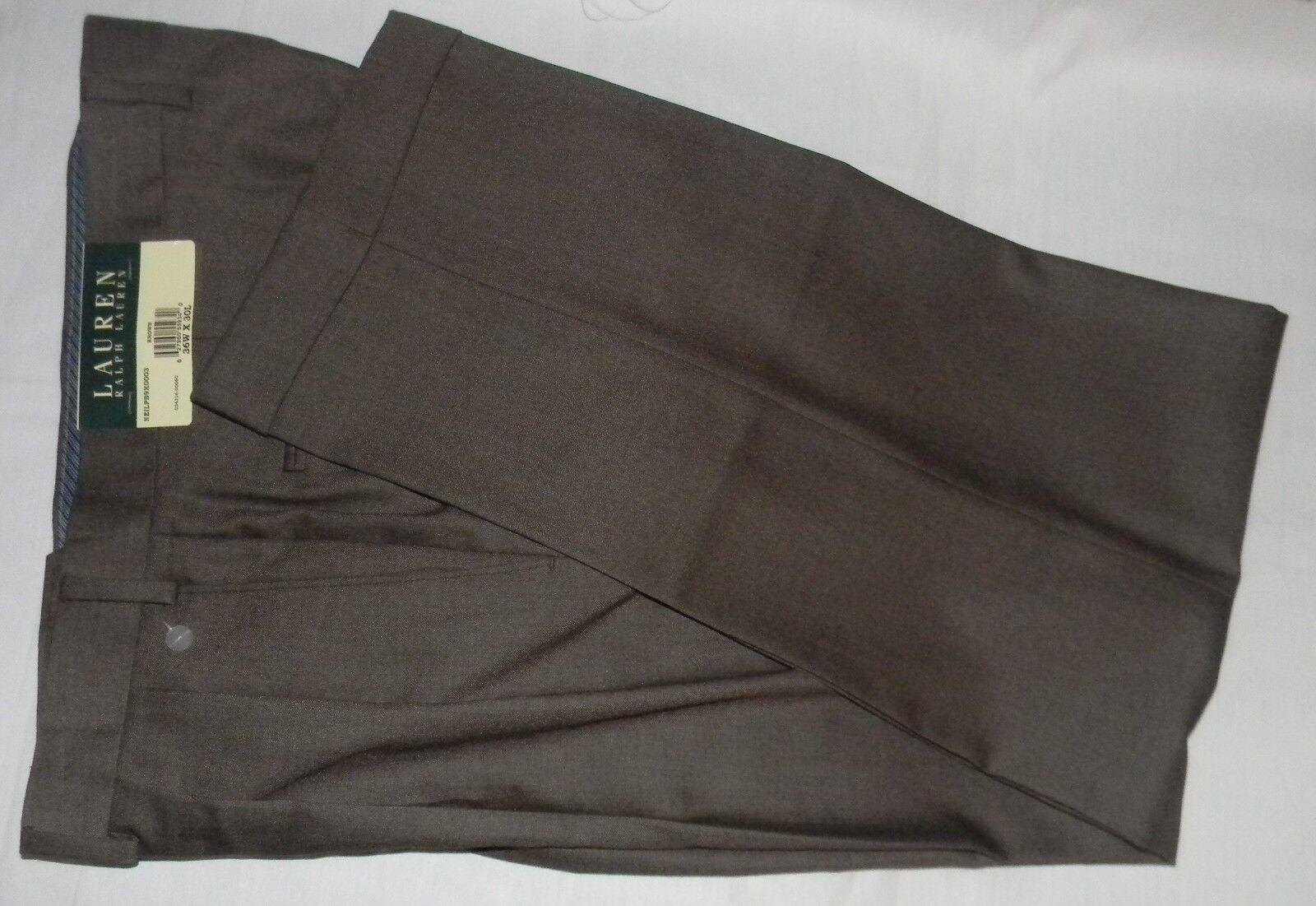 NEW LAUREN Ralph Lauren Pleated 36x30 Brown Dress Pants Polyester 36W x 30L