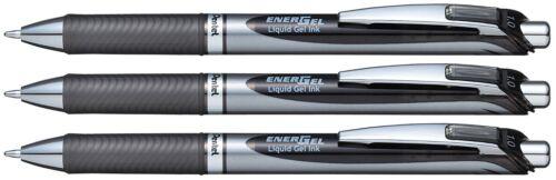 3 X Pentel EnerGel RTX Retractable Gel Roller Ball Pen 1.0mm BL80  Black Color