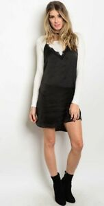 Details About Nwot Xl Twofer Black Strappy Mini Lace Slip Dress White Rayon Long Sleeve Top
