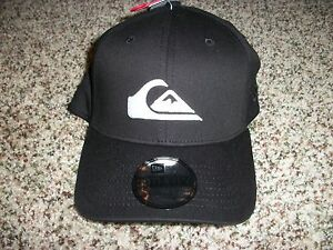 QUIKSILVER-New-NWT-Mens-One-Size-Fits-Most-S-M-L-XL-High-Crown-Era-Black-HAT-CAP