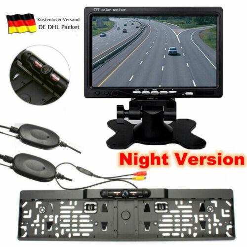 FUNK IR LED Rückfahrkamera Kennzeichen Nummernschild Einparkhilfe+7 Zoll Monitor