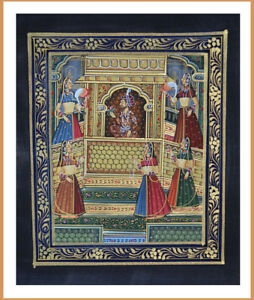Original-Moghul-King-and-Queen-Miniature-Painting-Natural-Colors-from-India
