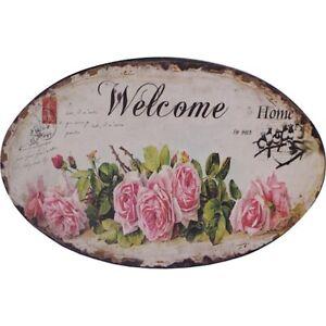 9973792 Advertisement Tin Sign Roses Welcome Vintage Nostalgia 20x25cm