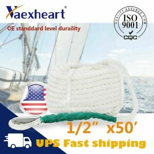 "Top Quality 1//2/""x300/' Twisted Three Strand Nylon Anchor Rope Boat W// Thimble US"