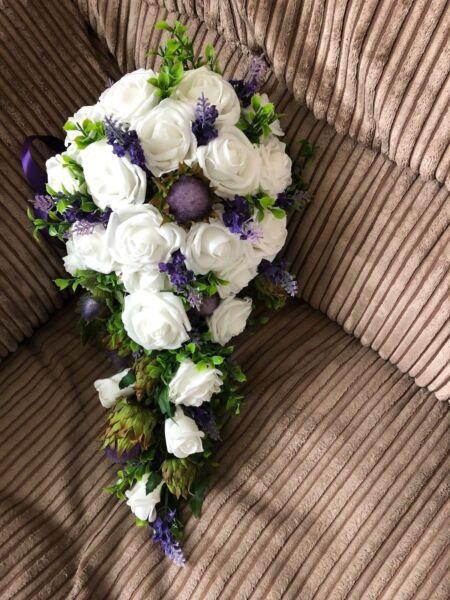 * Nuovo * Scozzese Nozze Fiori Bouquet Della Sposa Cardi, Lavanda Rose Bianche