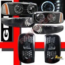 00-06 GMC Yukon Denali Halo LED Headlights Bumper Lights + LED Tail Lights Black