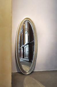 Ovalspiegel wandspiegel oval spiegel silber 100x40 cm ebay - Spiegel oval silber ...