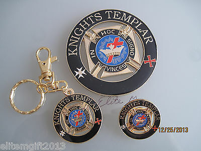 Masonic Knights Templar Cut out Car Auto Emblem   Keychain  And Lapel Pin