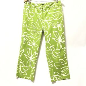 0f13262e797 Lafayette 148 Capri Pants 10 Light Green Floral Wide Leg Zipper Flat ...