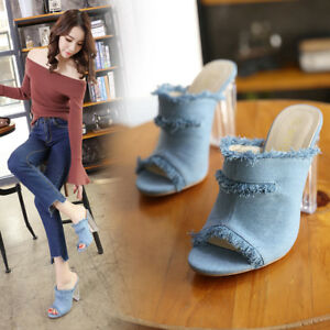 8776cca9e67 Details about Womens Denim Clear Block Heels Slippers Mules Sandals Peep  Toe Summer Shoes Size