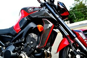 Details About Fits Yamaha Fz09 Mt09 Real Carbon Fiber Sides Air Wing Fairing Protector Tank
