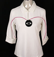 BNWT WOMENS OAKLEY STRETCH HACKER GOLF POLO SHIRT BLOUSE 3/4 SLEEVED LARGE WHITE