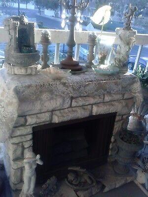 HOLIDAY DECOR  Fireplace Fiberglass Carve Stone Mantel Hearth Heater Log Mpvie