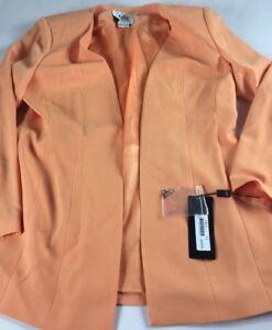 Leboss-Jacket-Blazer-Peach-Womens-SZ-12-Shoulder-Pads-Coat-NEW-Lined-Ladies