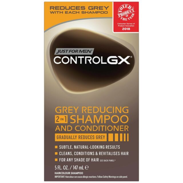 New Just For Men Control GX Grey Reducing 2 in 1 Shampoo and Conditioner 5 Oz.