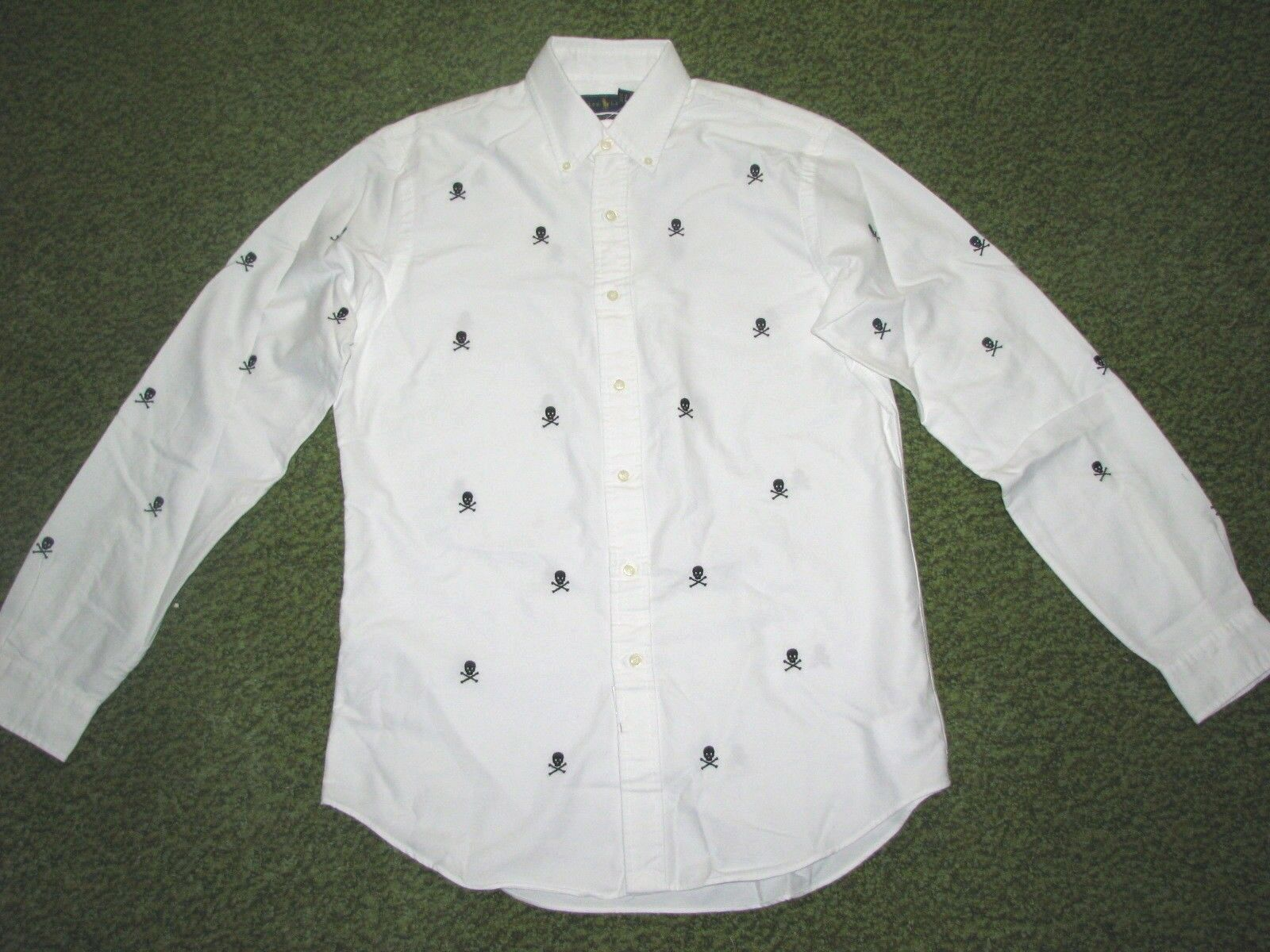 Men's (L) POLO-RALPH LAUREN White  SKULL & CROSSBONES  Oxford Shirt