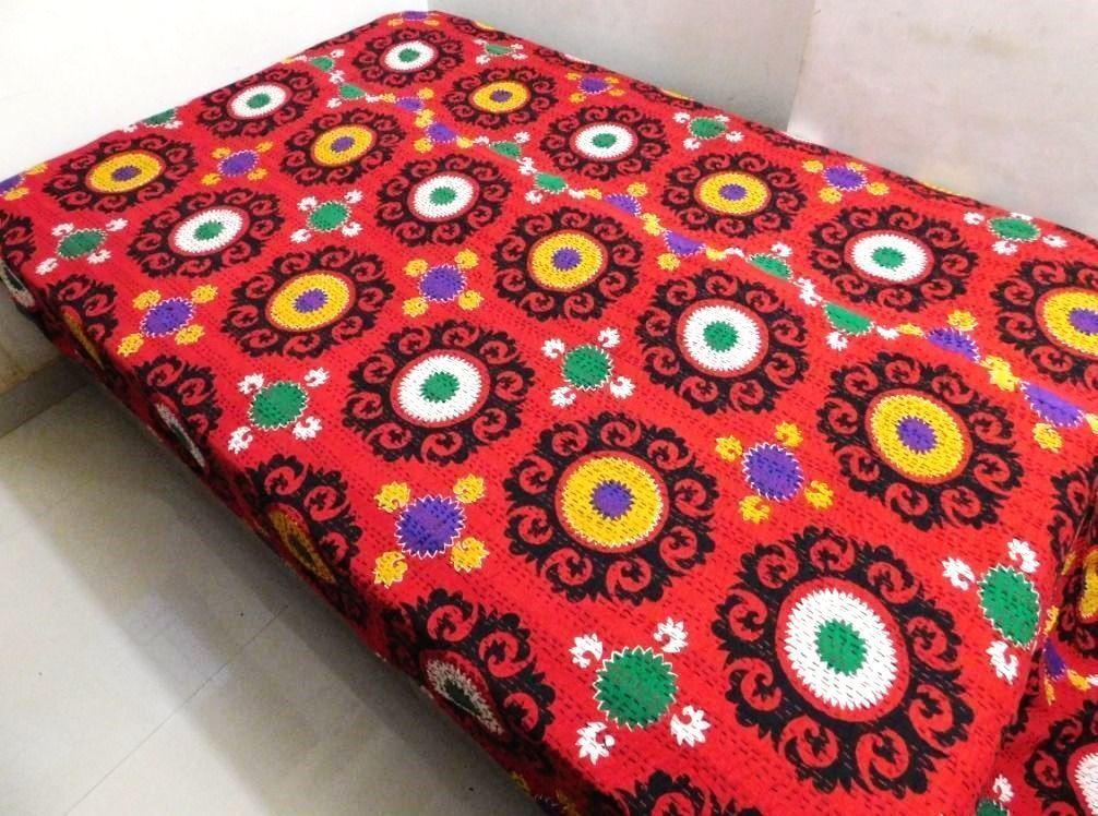 Indian Kantha Quilt Twin Bed Sheet Suzani Floral Bedcover Cotton Red Bedspread