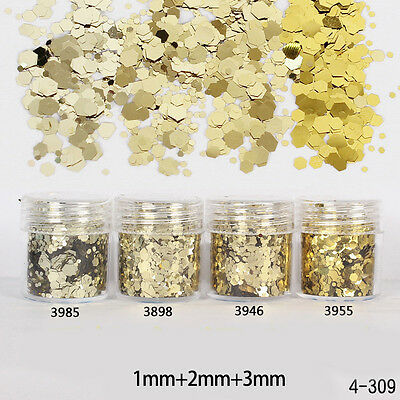 10ml/Box Nail Art Glitter Powder Champagne Gold Mixed Tips Sequins 1-3mm