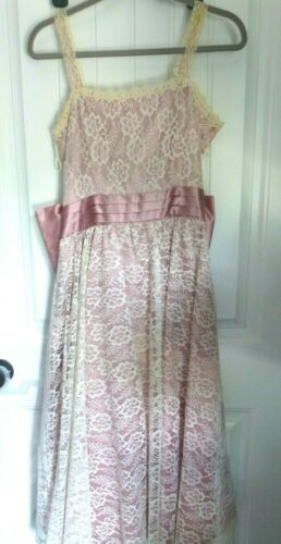 Vtg 70s Gunne Sax Rose Sheer Lace Dress Tea Length