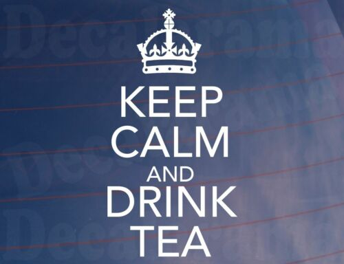 KEEP CALM AND DRINK TEA Kitchen//Dining Room//Cupboard Wall Art Sticker Small