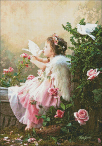 DIY Chart Counted Cross Stitch Pattern Needlework for embroidery Angel Kisses