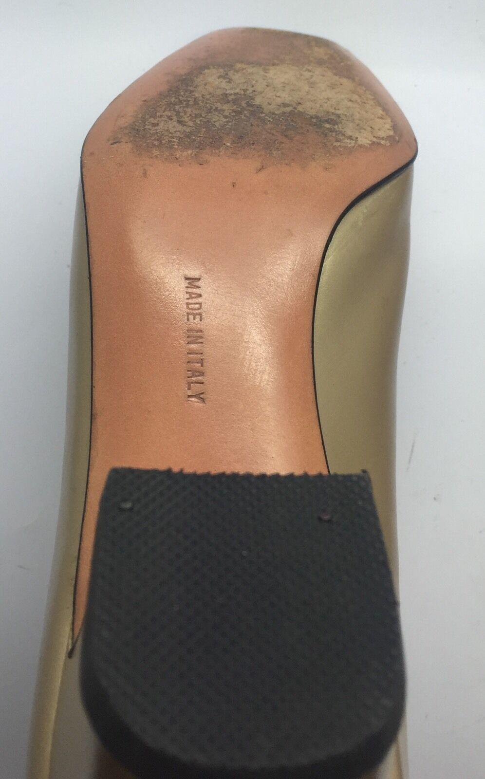 SALVATORE FERRAGAMO Gold Pearl Leder Low Heels Pumps Gancini Buckle 6B