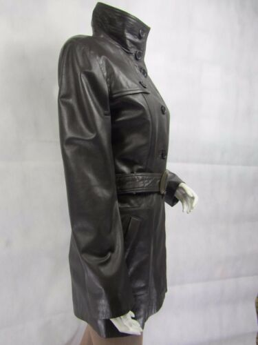 Ladies Trench Soft Brown Leather Comfort Fit 3//4 Long Fashion Belt Jacket Button