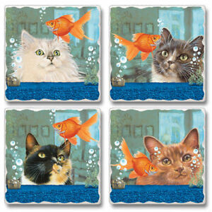 Mixed-Absorbent-Stone-Coasters-Set-4-Fishful-Thinking-Kitty-Cats-Goldfish-Bowls