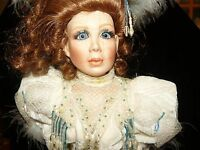 Franklin Mint Heirloom Porcelain Sweet Sparkle LTD Doll 22 Inches W Doll Stand