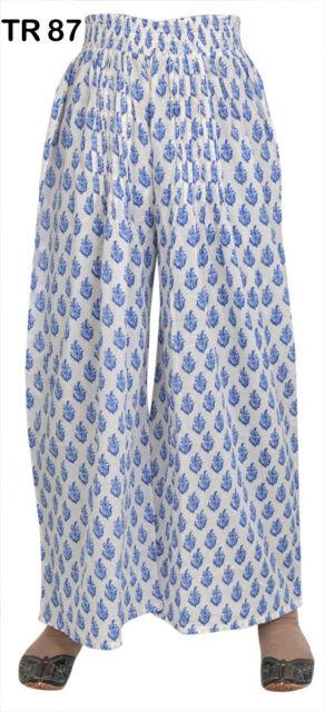 10 Cotton Hand Block Print Palazzo Pants Printed Boho Gypsy Trousers TR87