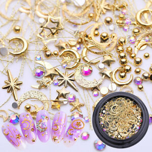 3D-Nail-Art-Metal-Gold-Decoration-Star-Moon-Heart-Mixed-Shape-Tiny-Rivet-DIY