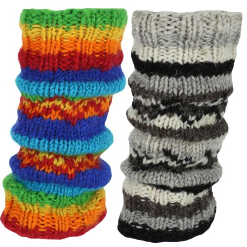 LEG WARMERS WOOL KNIT /& FLEECE LINED HIPPIE RAINBOW SLOUCH BOOT SOCKS DANCE