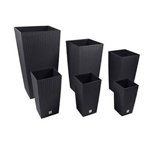 2-x-Large-RATTAN-Tall-Planter-Square-Plastic-Garden-Flower-Plant-Insert-Black