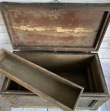Antique Old Primitive Wood Carpenters Tool Box Chest Withtray 21x11x11