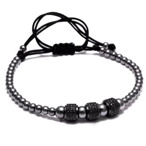 Nouveau Anil arjandas Micro Pave 18k Or Plaqué Zircone Cubique Boules 4 Mm Perles Macrame Bracelet