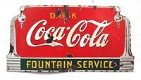 "Vintage 1930's Coca Cola Fountain Service Soda Pop Porcelain Metal Sign 27"" Long"