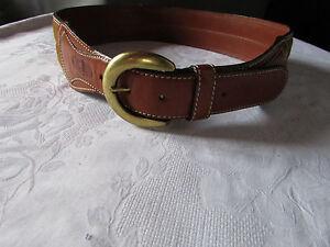 Image is loading Vintage-roberto-bellido-belt-75-suede-leather-caramel 74a9e263336