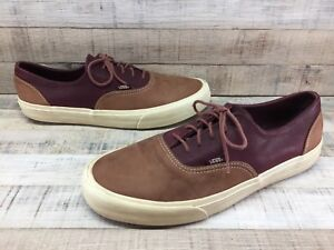0f38ed6b9f8e0b Image is loading VANS-Tan-Burgundy-Leather-Skate-Shoes-Sneakers-Oxfords-