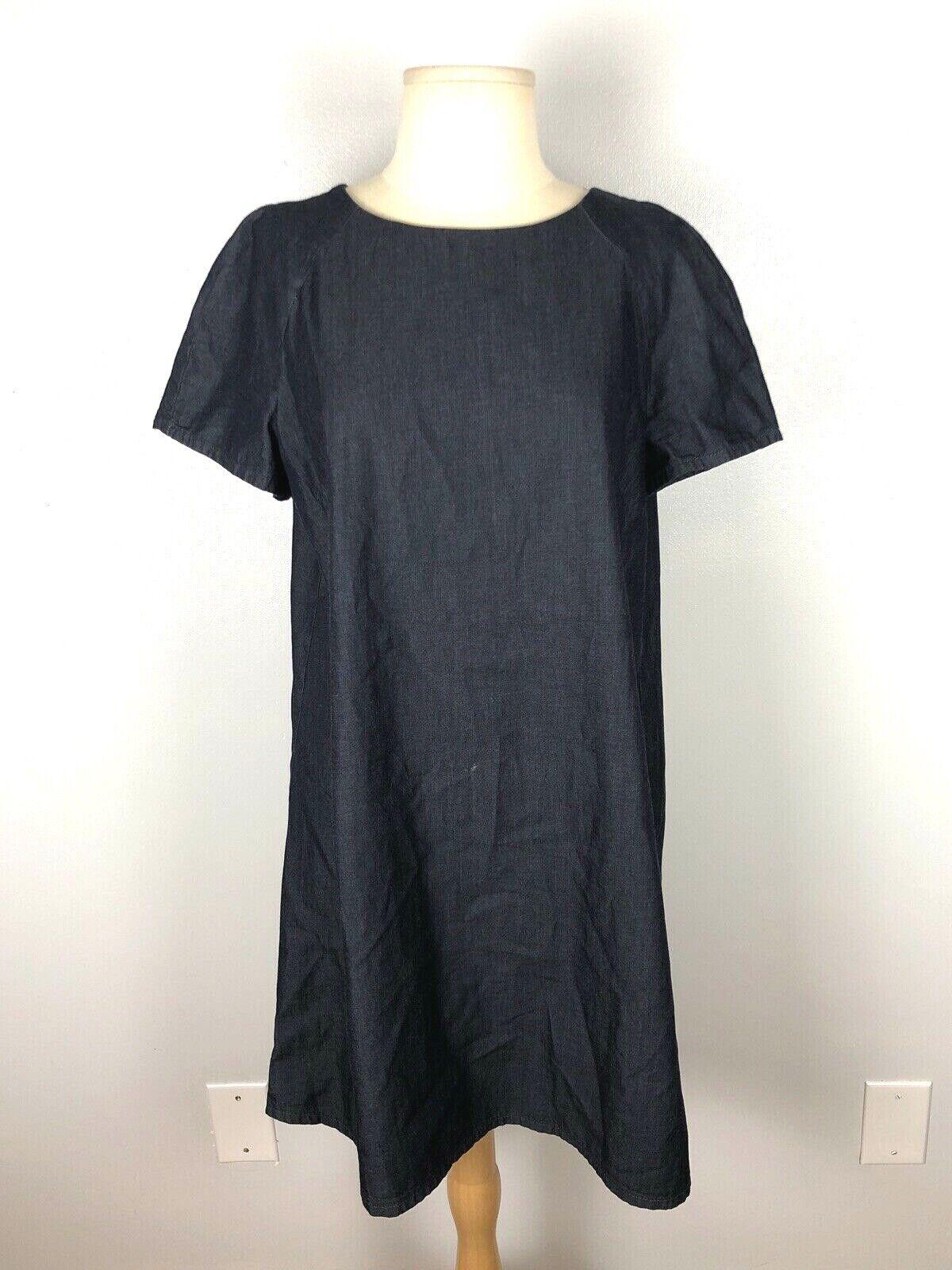 Zara Basic Denim Dark Wash Swing Dress, Size L - image 2