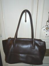 Italy Designer TOSCA BLU Brown Leather Tote Shoulder Bag Handbag Purse Large