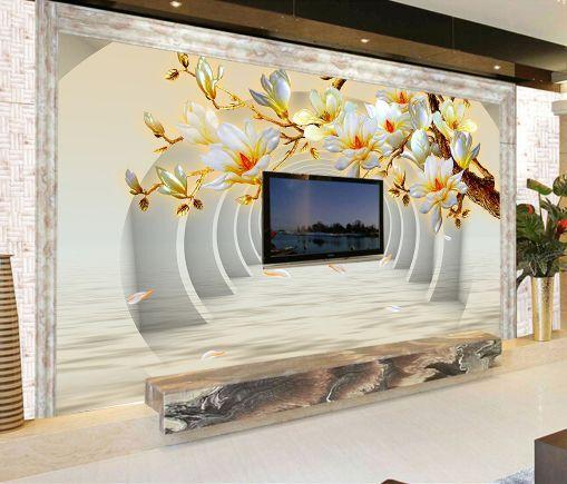 3D Corridoio, fiori 4 Parete Murale Carta da parati immagine sfondo muro stampa