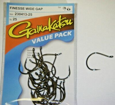 """GAMAKATSU FINESSE WIDE GAP BASS HOOKS /""""VALUE PACK/"""" 230309-25 SIZE 2 RED 25 PACK"""