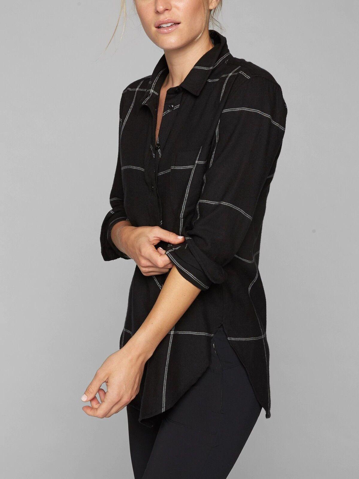 NWOT Athleta Heat Gen Tech Flannel Shirt, schwarz Dove Größe SP S P   N0126