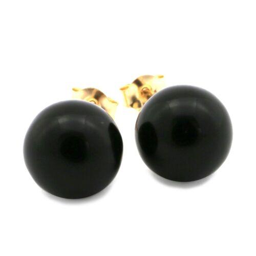 14k or jaune 7 mm Noir Imitation Onyx Boule Clous D/'Oreilles