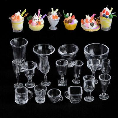 17X Dollhouse Miniatures Clear Ice Cream Sundae Mini Supply Decora For Food  NEW