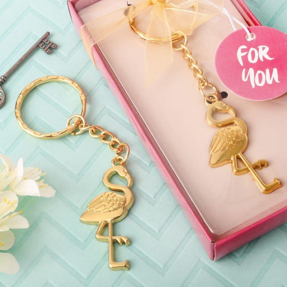 125 Tropical Flamingo Gold Keychain Beach Wedding Bridal Baby Shower Party Favor